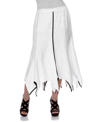 White Contrast Linen Handkerchief Skirt - Women & Plus