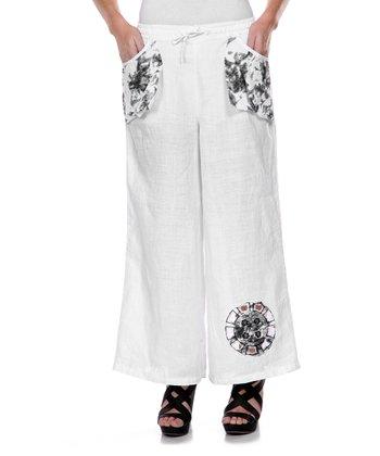 White Wheel Embroidered Linen Pants - Women & Plus