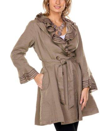Mocha Ruffle Linen Trench Coat - Women & Plus