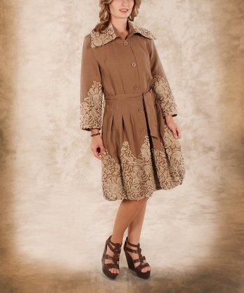 Mocha Floral Linen Trench Coat - Women & Plus