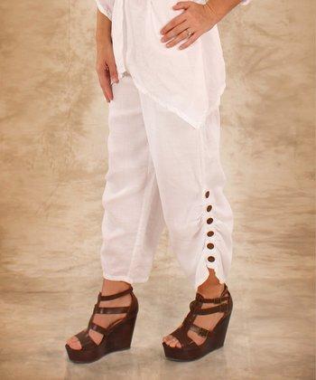 White Button-Leg Linen Capri Pants - Women & Plus