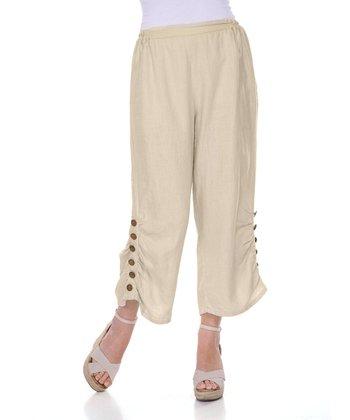 Natural Button-Leg Linen Capri Pants - Women & Plus