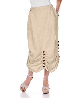 Natural Belle Button Linen Skirt - Women & Plus