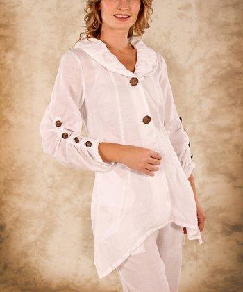 White Button Accent Linen Hi -Low Top - Women & Plus