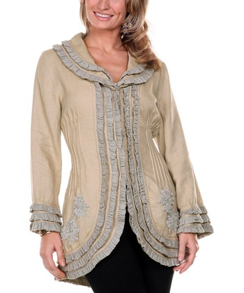 Beige & Gray Ruffle Linen Jacket - Women & Plus