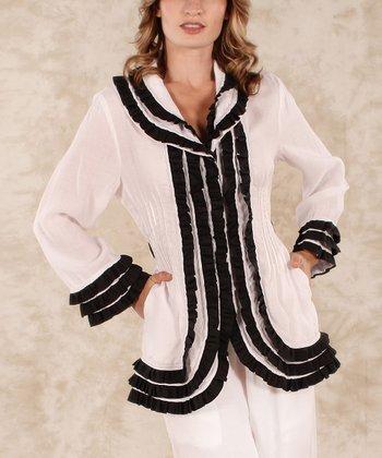 White & Black Ruffle Linen Jacket - Women & Plus