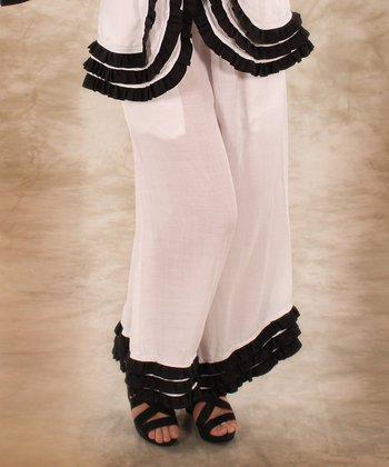 White & Black Ruffle Linen Lounge Pants - Women & Plus