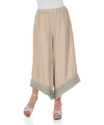 Beige & Green Ruffle Linen Gaucho Pants - Women & Plus