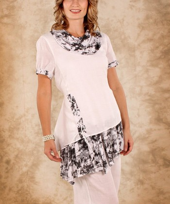 White & Black Abstract Linen Cowl Neck Top - Women & Plus
