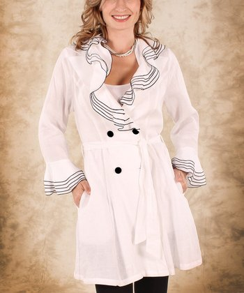 White & Black Ruffle Linen Open-Neck Trench Coat - Women & Plus