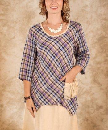 Purple & Blue Plaid Linen Sidetail Top - Women & Plus