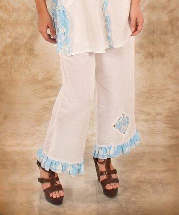 White & Blue Ruffle Linen Pants - Women & Plus