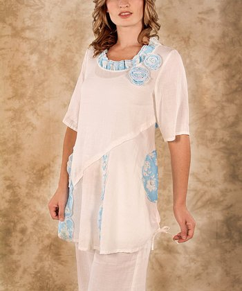 White & Blue Flower Linen Tunic - Women & Plus