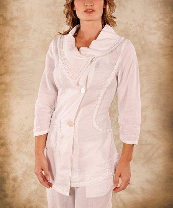 White Button-Up Linen Cowl Neck Top - Women & Plus