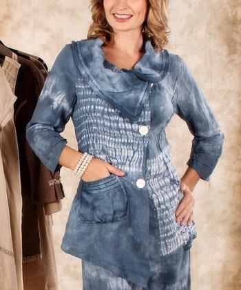 Blue & White Tie-Dye Linen Cowl Neck Top - Women & Plus