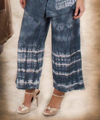 Blue & White Tie-Dye Linen Gaucho Pants - Women & Plus