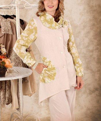 Lime & White Floral Linen Cowl Neck Top - Women & Plus