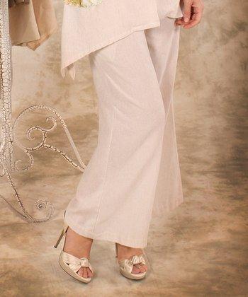 White Linen Palazzo Pants - Women & Plus