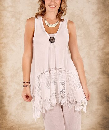 White Net Linen Sleeveless Top - Women & Plus