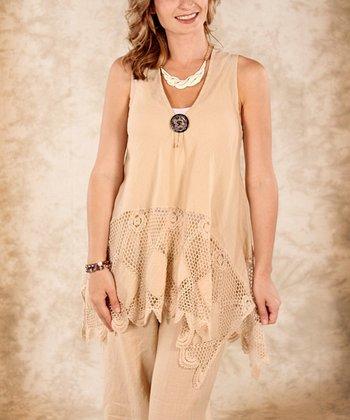 Beige Net Linen Sleeveless Top - Women & Plus