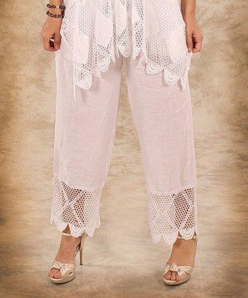 White Net Linen Palazzo Pants - Women & Plus