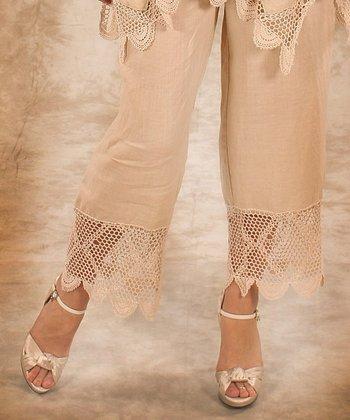 Beige Net Linen Palazzo Pants - Women & Plus