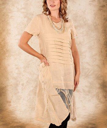 Beige Net Linen Short -Sleeve Tunic - Women & Plus