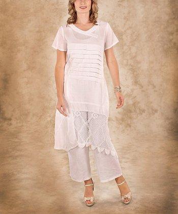 White Net Linen Short -Sleeve Tunic - Women & Plus