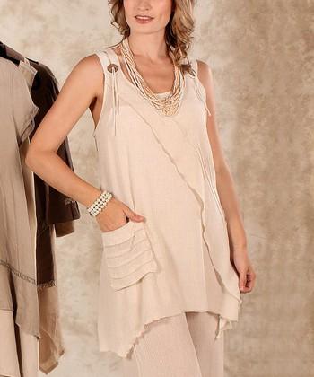 Beige Linen Sidetail Top - Women & Plus