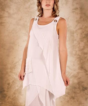 White Linen Sidetail Top - Women & Plus