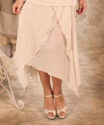 Beige Linen Handkerchief Skirt - Women & Plus
