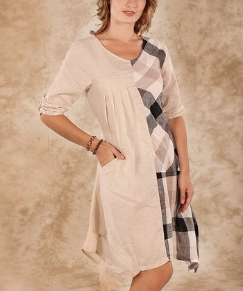 Beige & Black Plaid Linen Sidetail Dress - Women & Plus