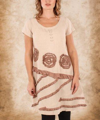 Beige & Natural Linen Cropped Tunic - Women & Plus
