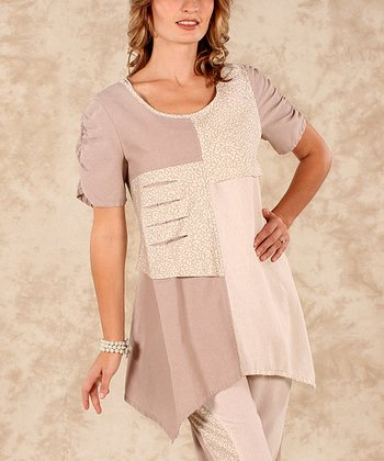 Beige & Natural Color Block Linen Sidetail Top - Women & Plus