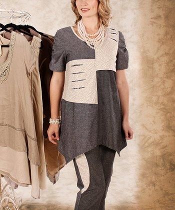 Black & Beige Color Block Sidetail Top - Women & Plus