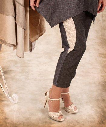 Black & Beige Linen Cropped Pants - Women & Plus