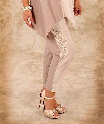 Beige & Natural Linen Cropped Pants - Women & Plus