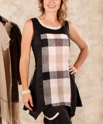 Black & Beige Plaid Sleeveless Top - Women & Plus