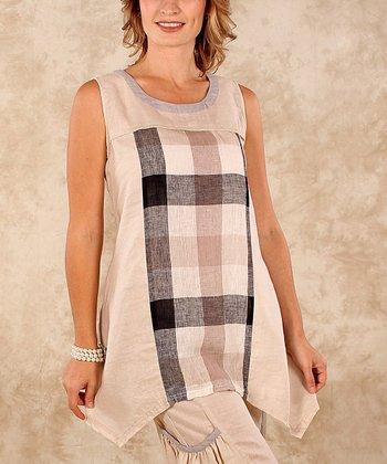 Beige & Black Plaid Linen Sleeveless Top - Women & Plus