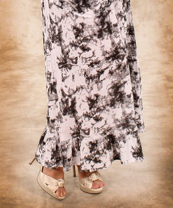 Black & White Abstract Linen Maxi Skirt - Women & Plus