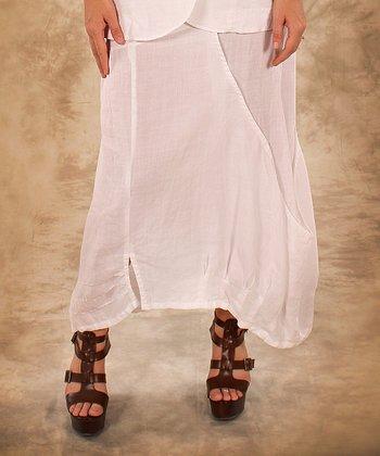 White Linen Maxi Skirt - Women & Plus
