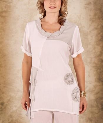 White & Gray Flower Linen Cowl Neck Top - Women & Plus