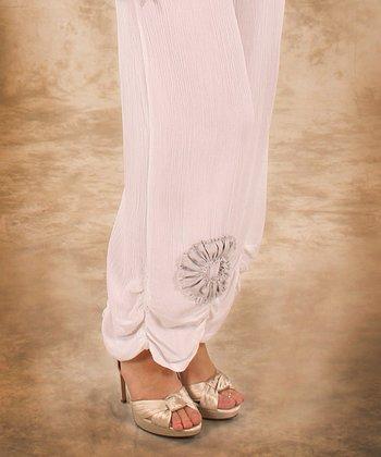 White & Gray Flower Linen Palazzo Pants - Women & Plus