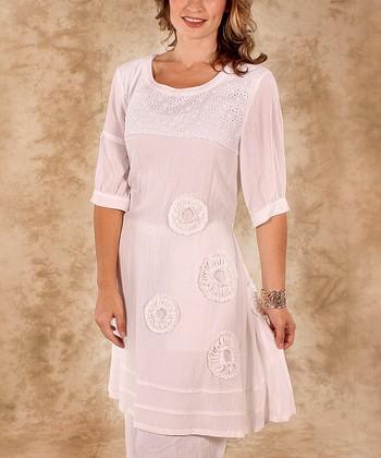 White Eyelet Linen Tunic - Women & Plus