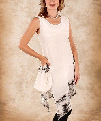 White & Black Abstract Trim Linen Sidetail Top - Women & Plus