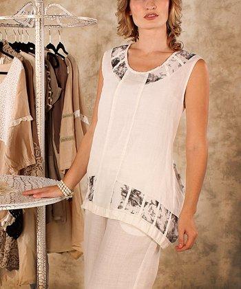 Black & White Abstract Sleeveless Top - Women & Plus