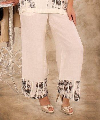 White & Black Abstract Linen Palazzo Pants - Women & Plus