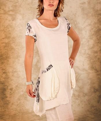 White & Black Abstract Linen Cap-Sleeve Top - Women & Plus
