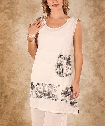 White & Black Accent Pocket Linen Sleeveless Top - Women & Plus
