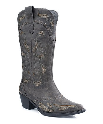 Black Pointed-Toe Cowboy Boot - Women